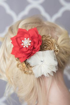 Mustard Flower Hair Clip for girls - La Bella Rose Boutique. Girl's hairstyles, picture day hair for girls, accessories for flower girl, fall hairbows, baby girl hair bow.