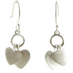 Me and Ro Sterling Silver Double Heart Drop Dangle Hook Earrings
