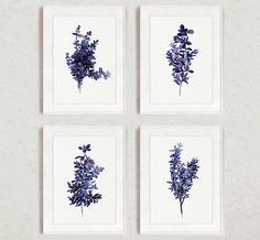 Abstract Leaves Watercolor Painting, Royal Blue Botanical Art Print, Thyme Kitchen Wall Decor, Herb set 4 Retro Herbs and Spices Food Art by ColorWatercolor on Etsy https://www.etsy.com/uk/listing/266395774/abstract-leaves-watercolor-painting