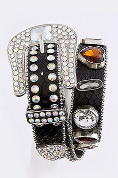 Beautiful Jewel Studded Leather Belt Black