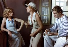 Isabelle Huppert, Stephane Audran and Eddy Mitchell in Coup de torchon directed by Bertrand Tavernier, 1981 Stephane Audran, Isabelle Huppert, Celebs, Celebrities, The Fosters, Pop Culture, Challenges, Actresses, Actors