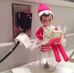 Elf poop in mason jar- use a Christmas Hersey kiss. Put it in bottom of mason jar put elf in the sitting position and some toilet paper
