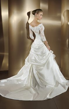 Lace ball gown off the shoulder with 3/4 sleeves