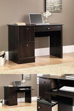 Computer Desks for Home Office Storage Table Wood Furniture Desk Cinnamon Cherry #Sauder