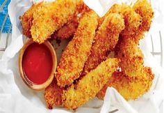 Doigts de poulet, trempette aux tomates et au miel