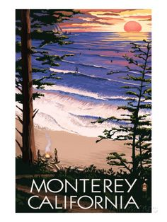 Monterey, California - Sunset and Beach Prints by Lantern Press at AllPosters.com