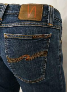 """(Dark Wash Stretch Denim with Mild Factory Distressing/Fading Throughout for a """"Lived In"""" Look:). Silver Jeans Co. Signature SILVER JEANS """"S"""" Embroidered Rear Pocket Designs. Nudie Jeans, Denim Jeans, Long Johns, Silver Jeans, Vintage Denim, High Jeans, Stretch Jeans, Women's Clothing, Tights"""