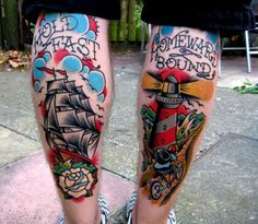 tattoo ship + lighthouse