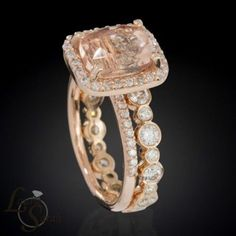 Rose Gold Morganite Engagement Ring and Wedding Set with Bezel Set Diamond Eternity Wedding Band - LS3353 by Flairdiva
