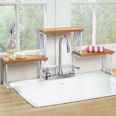 2 Tier Over The Sink Shelf Kitchen Faucet Space Saver Storage Shelf | eBay