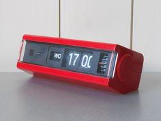 Vintage 1970s COPAL Flip Clock Alarm with Days . Red Plastic.