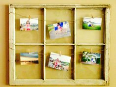 Repurposed window frame for pictures