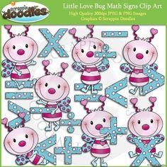 Little Love Bug Math Signs Clip Art