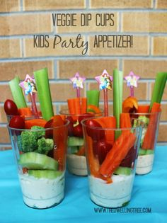 Veggie Dip Cups: A fun birthday party appetizer for kids! No spoon or plate required! #DipYourWay #Ad - The Dwelling Tree