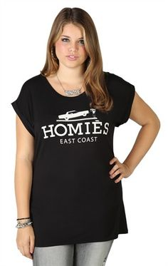 Deb Shops Plus Size Short Sleeve Oversized Tee with Homies East Coast Screen  $14.92