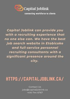 Through advertising, income materials, and websites, as nicely as thinking management portions posted by way of Capital Joblink Insights, our brand, marketing, and communications groups are simply on the the front and we additionally have the best Employment Agency in Brampton Etobicoke. Job Website, Job Search, Good Job, Insight, Advertising, Management, Good Things, Marketing