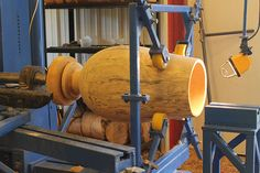 Creating a large sycamore vase. Removing the inside. Steady rest.