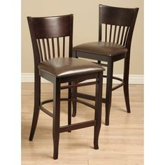 Vera Leather and Wood Bar Chairs (Set of 2), Brown (Oak)