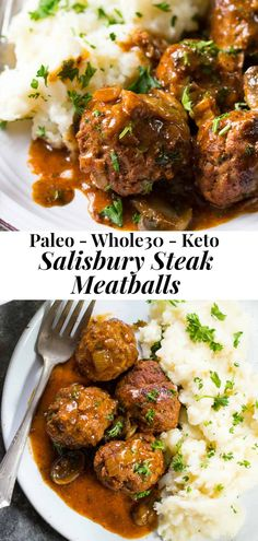 These easy and delicious Paleo Salisbury Steak Meatballs are great for families, kid friendly, Whole30 compliant and perfect with mashed white or sweet potatoes! This delicious healthy dinner is easy to prep, quick for weeknights. Gluten free, dairy free, sugar free, ready is 30 minutes. #paleo #keto #whole30 Paleo Recipes, Healthy Dinner Recipes, Sugar Free Recipes Dinner, Paleo Food, Cooking Recipes, Chili Recipes, Potato Recipes, Salisbury Steak Meatballs, Sin Gluten