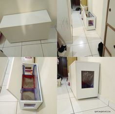 Hiding Cat Litter Box, Hidden Litter Boxes, Cat Box Furniture, Cat Hotel, Living With Cats, Cat Toilet, Wooden Door Design, Cat Room, Animal Decor