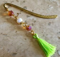 bookmark unique with crystal, pearl and tassel by CrystalDreamsUS on Etsy