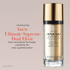 My personal favorite serum! This is the Anew Ultimate Supreme Dual Elixir. It's part serum and part oil. It contains Tahitian Black Pearl which revitalizes the skin, makes it light and bright, and reduces micro wrinkles! Anew Ultimate, Supreme, Skin Care Routine For 20s, Skin Routine, Camelo, Camellia Oil, Tahitian Black Pearls, Shops, Avon Online