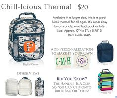 Shop for Thirty-One Thermals. All kinds of fun and cute thermal insulated bags to keep your items hot or cold ThirtyOneGifts #31bag #31bags #Thermals #PicnicThermal #FreshMarketThermal #AroundTheClockThermal #GoToThermal www.mythirtyone.com/apeterson86