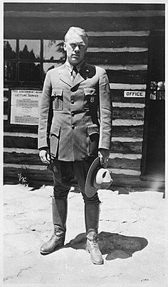 ourpresidents:  Yellowstone National Park was created on this day in 1872 by President Ulysses S. Grant.  Sixty four years later, a young man named Gerald R. Ford would serve as a Yellowstone Park Ranger.   Here's future president Ford wearing his National Park Ranger uniform, in front of a Yellowstone Park office.  08/1936