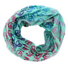 #Cute Peace Sign #Pattern Circle #Infinity #Loop Scarf #Cowl #Wrap in Light Blue