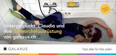 Untergetaucht: Claudia und ihre Schnorchelausrüstung von galaxus.ch. #GalaxusLive #Galaxus
