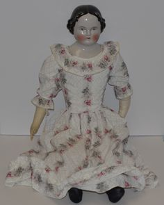 """Antique Doll China Head LARGE 30"""" Dressed Center Part Kestner 1860's from oldeclectics on Ruby Lane"""