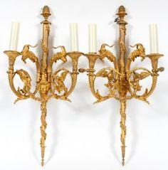 French Dore Bronze Light Sconces, Pair