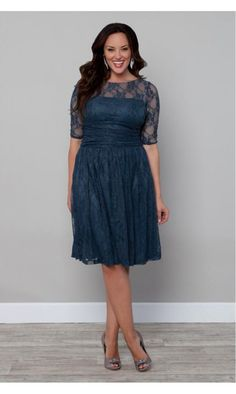 Kiyonna Luna Lace Dress In Deep Teal Blue