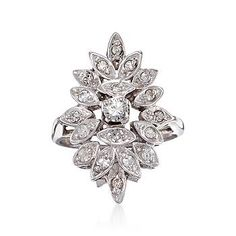 Ross-Simons - C. 1980 Vintage .50 ct. t.w. Diamond Cluster Ring in 14kt White Gold. Size 4.5 - #787998