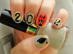 High School Graduation Nails cute idea but different color grey is ugly
