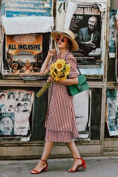 Find Out Where To Get The Dress // French style red striped dress with sunflowers and a straw hat and chunky heels // spring summer fashion fun cute cool chic