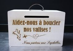 Birthday Quotes : Luggage travel customised box for wedding money cash box for enveloppe wedding party or birthday anniversary personnalised honeymoon box Wedding Boxes, Wedding Cards, Wedding Events, Cash Box, Money Box, Save My Marriage, Marriage Advice, Birthday Box, Birthday Cards