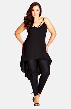 Free shipping and returns on City Chic Strappy High/Low Camisole (Plus Size) at Nordstrom.com. Delicate straps at the neckline put your décolletage in an alluring spotlight for a camisole cut from silky crêpe de Chine with a dramatic high/low hemline.