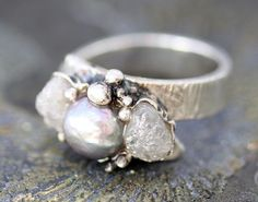 Another perfect ring. Rough, uncut/unpolished diamonds and pearls. Handmade with textured silver.