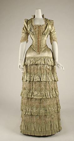 Dress Date: 1881–82 Culture: French Medium: silk Dimensions: Length at CB (a): 19 1/2 in. (49.5 cm) Length at CF (a): 15 1/2 in. (39.4 cm) Length at CB (b): 45 in. (114.3 cm) Length at CF (b): 43 in. (109.2 cm) Width at Bottom (b): 78 in. (198.1 cm) Credit Line: Gift of Mrs. Charles Hoffbauer, 1938