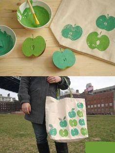 An apple-stamped tote DIY