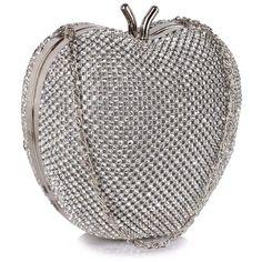 Zjawiskowa torebka wizytowa w kształcie jabłka srebrna srebrny | Sklep internetowy Evangarda.pl