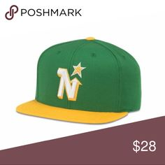 Vintage Minnesota North Stars SnapBack Hat Wool blend 6 panel retro adjustable cap with a flat brim and plastic snap closure, logo is lofted embroidery, black tapes and sweat, kelly green undervisor American Needle Accessories Hats