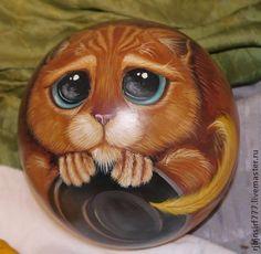 Шар неваляшка Кот в сапогах из мультфильма Шрек - рыжий,Кот из шрека