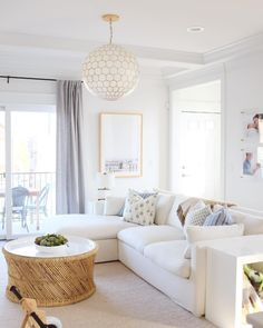 Beige Couch, White Couch Living Room, Living Room Sectional, My Living Room, Home And Living, Beige And White Living Room, White Sectional, White Couches, Coffee Table For Sectional
