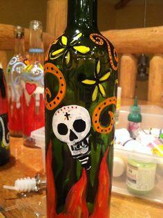 Recycled wine bottle-Dia de los Muertos theme.
