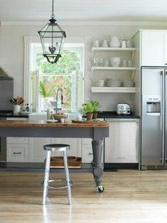 Best Open Kitchen Shelf Ideas and Designs - Open kitchen shelf ideas to elegantly enhance your space. Get inspired by the best designs of 2020 and transform your kitchen! See more ideas about Kitchen shelves & Kitchen decor. Farmhouse Kitchen Island, Modern Farmhouse Kitchens, Home Kitchens, Kitchen Islands, Farmhouse Table, Ikea Kitchens, Farmhouse Decor, Rustic Kitchen, Primitive Kitchen