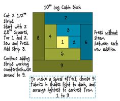 "log cabin quilt block, 10"""