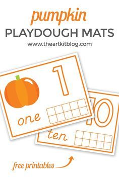 Pumpkin Playdough Mats for Number Practice {Free Printables!} If you're a regular here at The Art Kit, you know we are big fans of playdough! Between the lemon playdough, space galaxy playdough, and the chocolate Autumn Activities For Kids, Toddler Activities, Number Activities, Educational Activities, Learning Activities, Playdough Activities, Teaching Ideas, Fun Crafts, Crafts For Kids