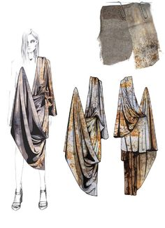 Fashion Sketchbook - fashion illustrations; rust print dress designs; fashion portfolio // Hannah Cook
